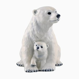 Porcelain Polar Bear Mother with Young Cub by Allan Therkelsen for Royal Copenhagen, 20th Century