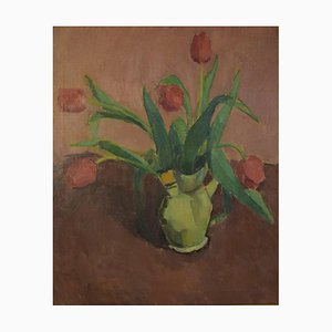Arrangement with Red Tulips in a Jug Oil on Canvas by Vilhelm Wils, 20th Century