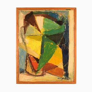 Modernist Composition Oil on Canvas by Holger Dall, 1960s
