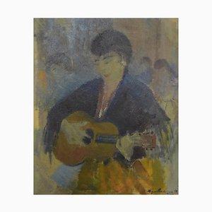 Street Musician Gemälde von Johannes Meyer Andersen, 1958