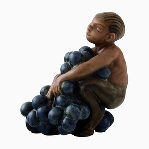 Stoneware Figurine of Small Bacchus with Bunch of Grapes from Bing & Grondahl, 1920s