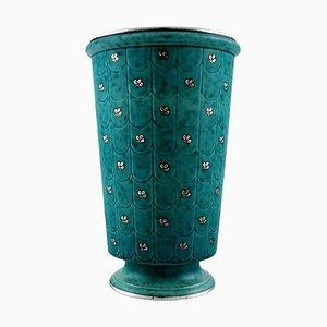 Argenta Vase in Ceramic Decorated with Leaves by Wilhelm Kåge for Gustavsberg, 1940s
