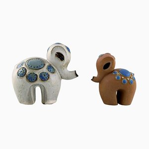 Ringo 1 Baby Elephants in Ceramic by Britt-Louise Sundell for Gustavsberg, 1960s, Set of 2