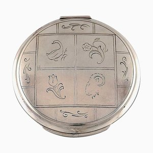 Art Deco Powder Box with Mirror by Harald Nielsen for Georg Jensen, 1940s