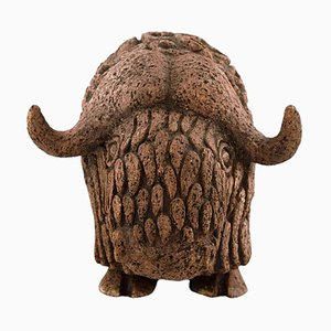 Large Swedish Musk Ox in Stoneware Lars Pagfeldt for Tengod, 1960s