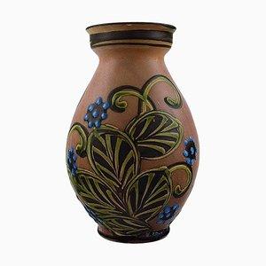 Glasierte Steingut Vase in modernem Design von Kähler, 1930er