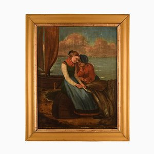 Romantic Scenery Young Couple Oil on Canvas, 19th Century