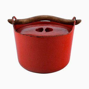 Finnish Cast Iron Casserole in Red Enamel by Sarpaneva for Rosenlew, 1959