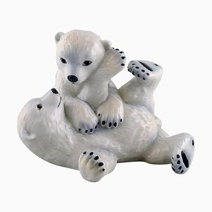 Polar Bear Cubs Porcelain Figure by Allan Therkelsen for Royal Copenhagen, 20th Century