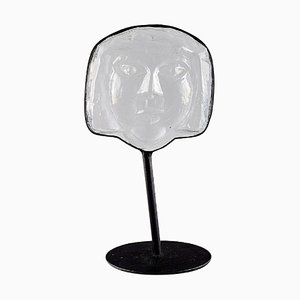 Face-Shaped Sculpture in Art Glass with a Stand by Erik Höglund for Kosta Boda, 1970s
