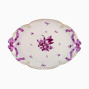 Großes Herend Serviertablett aus handbemaltem Porzellan mit violetten Blüten und Schleifen