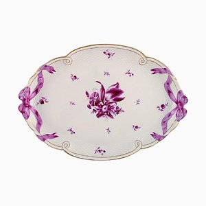 Large Herend Serving Tray in Hand Painted Porcelain with Purple Flowers and Ribbons