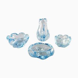 Stella Polaris Schalen oder Vasen von Vicke Lindstrand für Orrefors, 4er Set