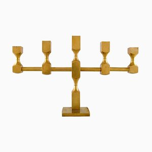 Large Swedish Gusum Metal & Brass 5-Light Candleholder, 1974