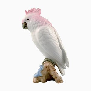 Art Deco Porcelain Royal Dux Parrot on Branch, 20th Century