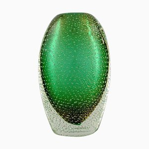 Italian Murano Vase in Green Mouth-Blown Art Glass with Bubbles, 1960s