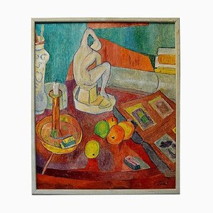 Modernist Still Life Oil on Canvas, Mid-20th Century