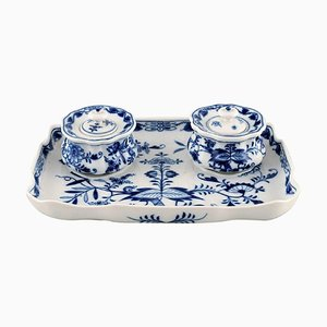 Meissen Blue Onion Ink Well in Hand-Painted Porcelain, 1930s