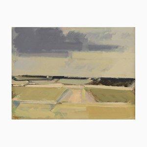 Landscape in Bright Colors Oil on Canvas by Frantz Vester Pedersen, 20th Century