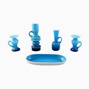 Schwedische Moderne Türkise Vasen und Schale aus Kunstglas, 20. Jahrhundert, 5er Set