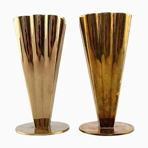 Brass Vases by Ystad Metal, 1950s, Set of 2