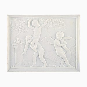 Rare Biscuit Plaque Boys Stealing Fruits from Royal Copenhagen after Thorvaldsen