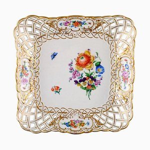 Square Dish in Pierced Porcelain Decorated with Flowers and Gold Border from Meissen, 20th Century