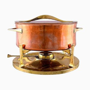 Fondue Pot in Brass and Copper Pot on Stand with Burner by Jens H. Quistgaard, 20th Century, Set of 3