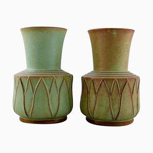 Glazed Ceramic Vases by Ewald Dahlskog for Bo Fajans, 1930s, Set of 2