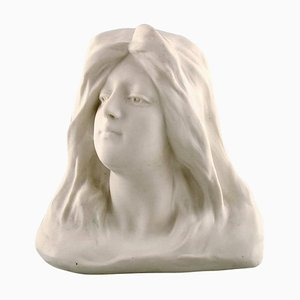 Art Nouveau Bust of Young Woman Sculpture in Biscuit from Gustavsberg, 1908