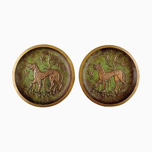 Tinos Bronze Dishes in Massive Patinated Bronze with an Animal in Landscape, 1920s, Set of 2