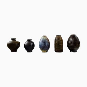Swedish Wallakra Five Miniature Art Pottery Vases, 1960s, Set of 5