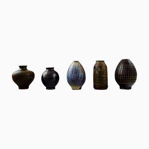 Swedish Wallakra Five Miniature Art Pottery Vases, 1960s, Set of 5