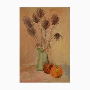 Pommes et Chardin Still Life Oil on Panel by Ray Letellier, 1959
