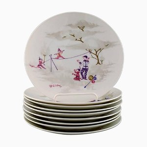 Line Dancer Porcelain Plates by Bjorn Wiinblad from Rosenthal, 1957, Set of 9