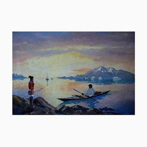 Coastal Scene from Greenland by Evelyn Bøje Thorbjørn Andersen, Mid-20th Century