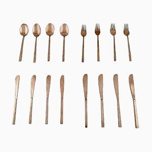 Scanline Cutlery in Brass by Sigvard Bernadotte, 1960s, Set of 16