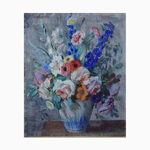 Still Life with Flowers Pastel by N. P. Bolt, 1920s