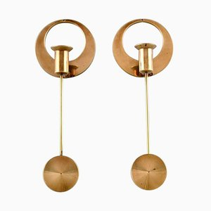 Modernist Brass Candleholders by Arthur Pe for Kolbäck, Set of 2