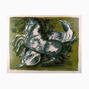 Litografía Number 23/260 Horses en color de Aksel Salto, años 20