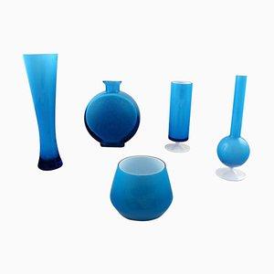 Vintage Swedish Turquoise Art Glass Vases, Set of 5