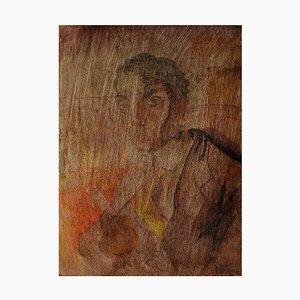 Art Deco Portrait eines Mannes Aquarell auf Papier auf Holzbrett, 1920er