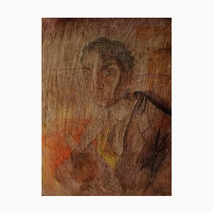Art Deco Portrait of a Man Watercolor on Paper Pasted on a Wooden Board, 1920s