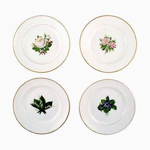 Flache Antike Teller im Florale Danica Stil von Royal Copenhagen, 4er Set