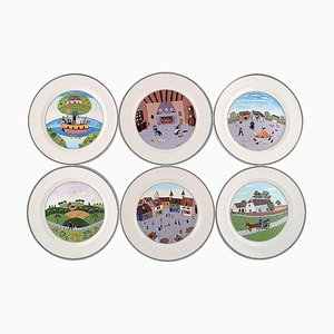Vintage Porcelain Dinner Plates by Villeroy & Boch, Set of 6
