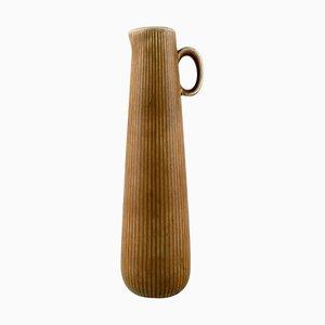 Große Schwedische Ritzi Keramik Vase in Geriffeltem Stil von Rörstrand, 1960er