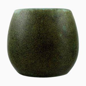 Vintage Green Glazed Stoneware Vase by Erik Reiff for Saxbo