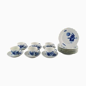 Blue Flower Curved Coffee Service from Royal Copenhagen, 1960s, Set of 18
