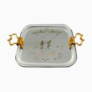 Italian Murano Rectangular Tray with Mirrored Plate, 20th Century