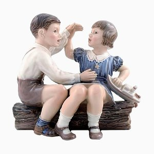 Vintage No. 1214 Girl and Boy with Ship Figurine by Dahl Jensen